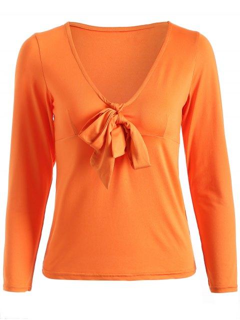 T-shirt à encolure nouée en V profond avec manches longues - Tangerine XL Mobile