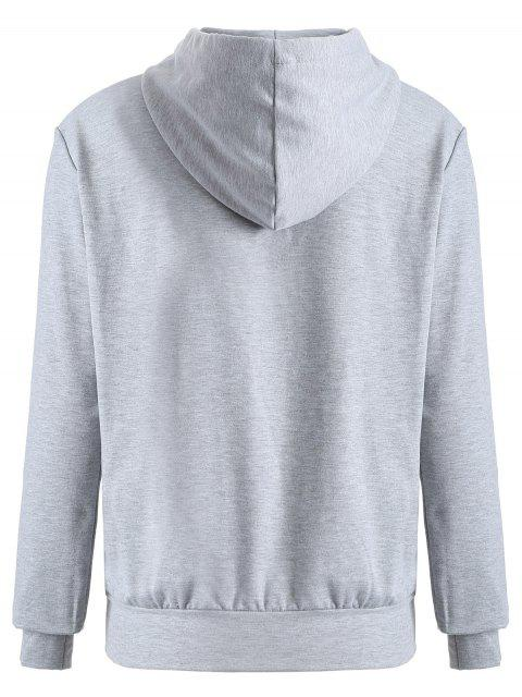 new Front Pocket Drawstring Cartoon Hoodie - GRAY S Mobile