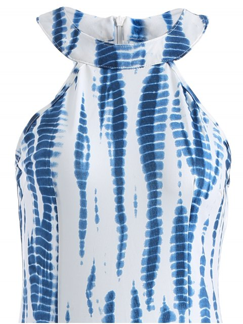 lady Tie Dye Maxi Halter Prom Dress - BLUE AND WHITE 2XL Mobile