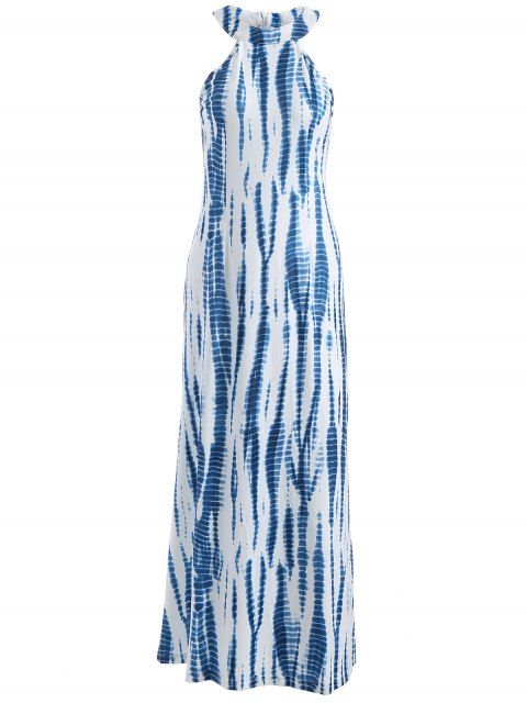 online Tie Dye Maxi Halter Prom Dress - BLUE AND WHITE L Mobile