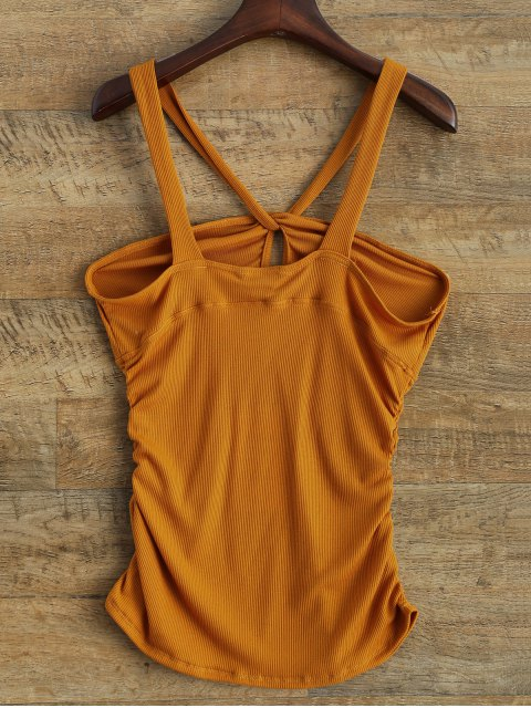 buy V Strap Tank Top - DEEP YELLOW L Mobile