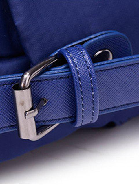 outfit Double Buckle Splicing Zippers Backpack - BLUE  Mobile