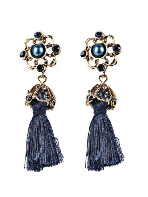 chic Vintage Tassel Rhinestone Drop Earrings - BLUE  Mobile