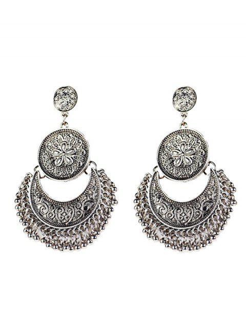 vintage Boucles d'oreilles avec pendentifs gravés en forme de fleurs et lunes ornées  de perle à style - Argent  Mobile
