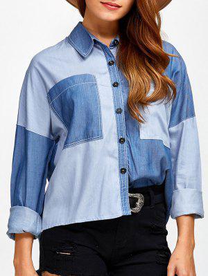 Pockets Patched Color Block Denim Shirt - Denim Blue 2xl