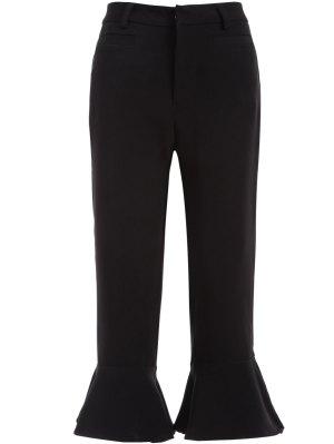 Ruffled Cuffs Pants - Black S