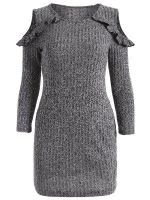 Vestido De Suéter Ceñido Fuera Del Hombro - Gris M
