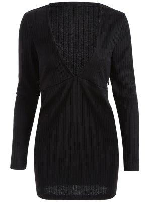 Long Sleeve Bodycon Plunge Dress - Black L