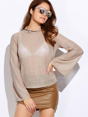 Back Cut Out Lace Up Turtle Neck Knitwear - Off-white S