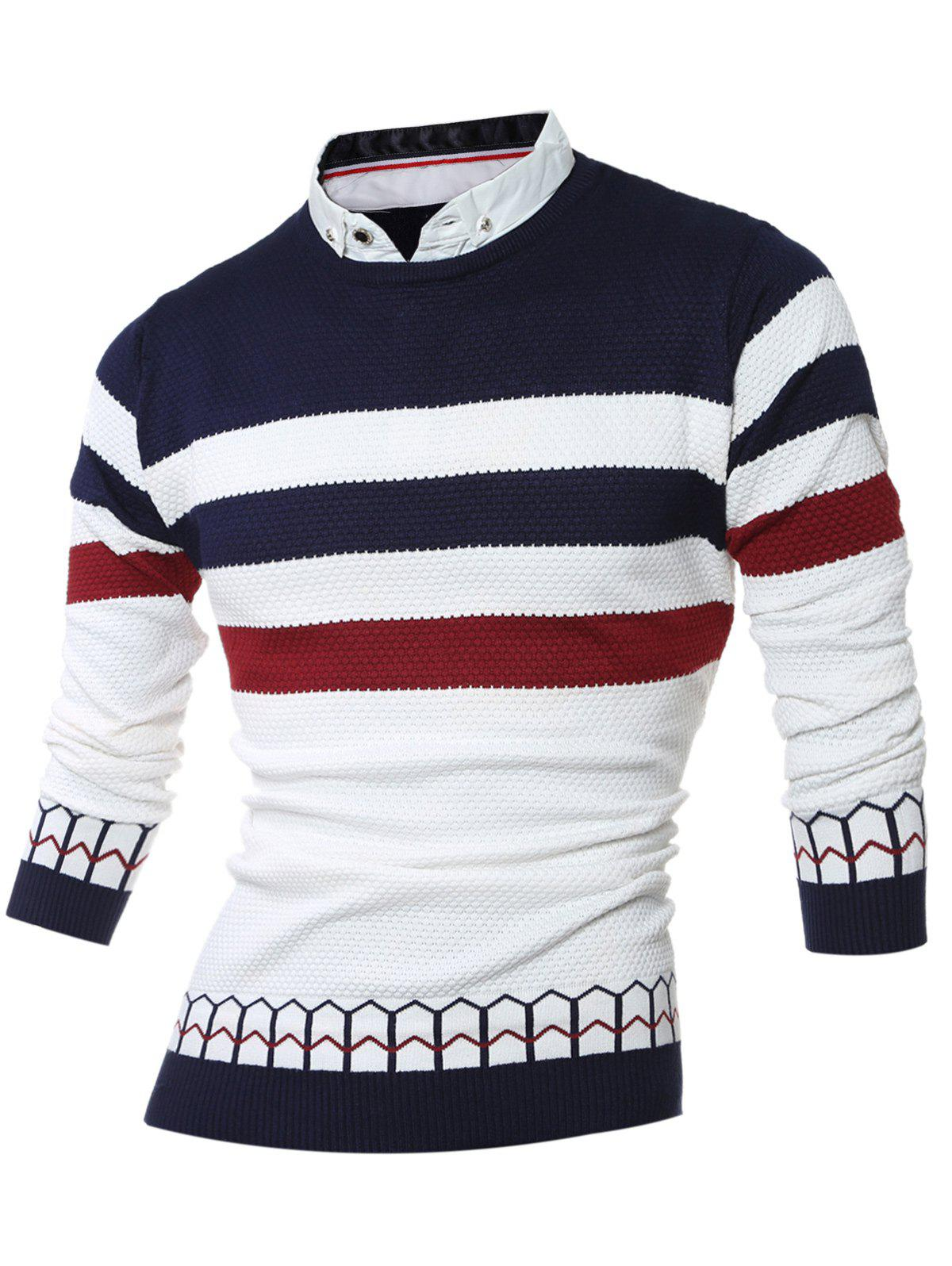 Faux Twinset Shirt Collar Color Block Stripe Spliced Knitting Sweater 201296004
