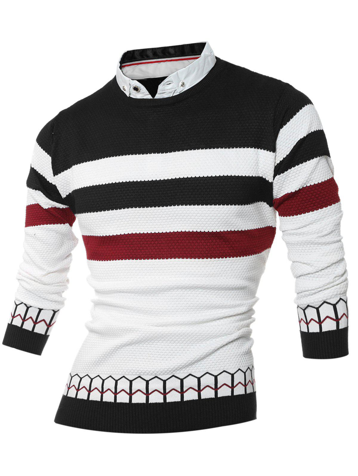 Faux Twinset Shirt Collar Color Block Stripe Spliced Knitting Sweater 201296010