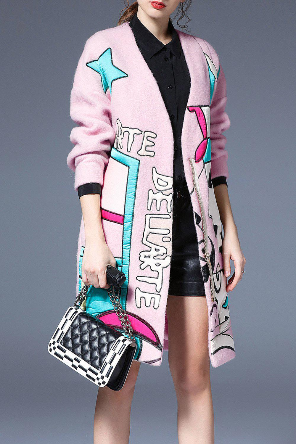 Zip Embroidered Coat with Pocket, Pink