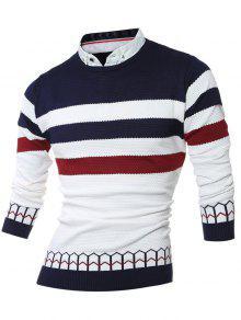 فو توينسيت قميص طوق اللون كتلة شريط تقسم الحياكة سترة - Cadetblue رقم M