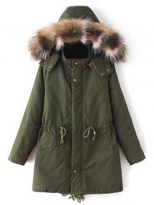 Buy Quilted Faux Fur Collar Parka - ARMY GREEN M