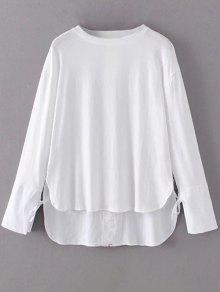 T-shirt Graphique D'ourlet Haut-bas à Manches Longues - Blanc M