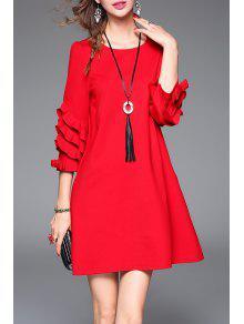 فستان مع قلادة كشكش بخط A - أحمر S