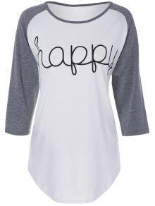 Color Block Happy T Shirt - White L