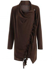 Tassels Side Button Cape - Coffee 2xl