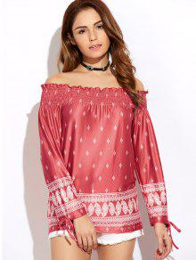 Printed Off The Shoulder Top - Red S
