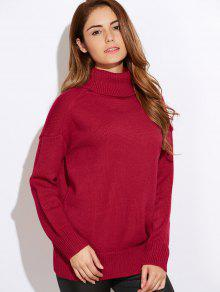 Classic Turtleneck Oversized Sweater - Red