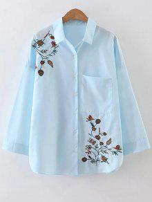 Poplin Floral Embroidered Pocket Shirt - Light Blue S