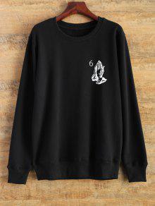 Jersey De Cuello Redondo De La Camiseta - Negro L