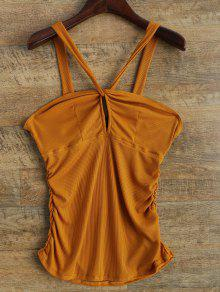 V Strap Tank Top - Deep Yellow L