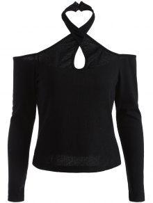 قميص ياقة الرباط المعلوق و الكتف العار  - أسود S