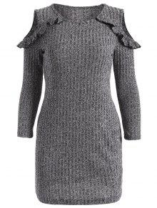Cold Shoulder Bodycon Sweater Dress - Gray L