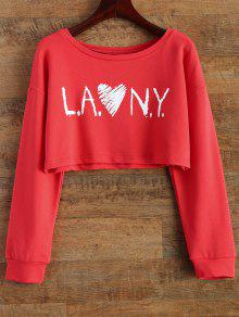 Letter Patterned Cropped Sweatshirt - Red M