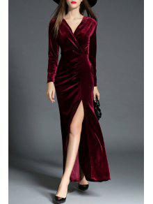 فستان مخملي كهنوتي انقسام - عنابي اللون M