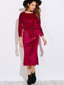 Side Slit Midi Velvet Blouson Dress - Burgundy S
