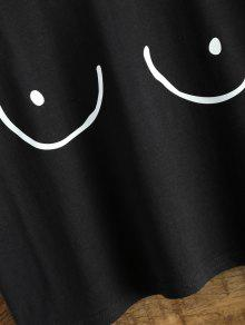 862b53d0a47a41 30% OFF  2019 Tits Print Funny Jersey Crop Top In BLACK