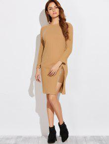 High Furcal Long Sleeve Dress - Khaki M