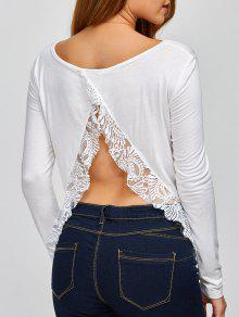 Lace Spliced Back Cutout T-Shirt - White Xl