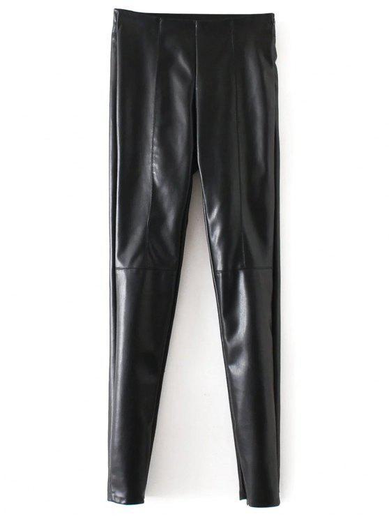 Skinny couro PU Calças pés estreitos - Preto L