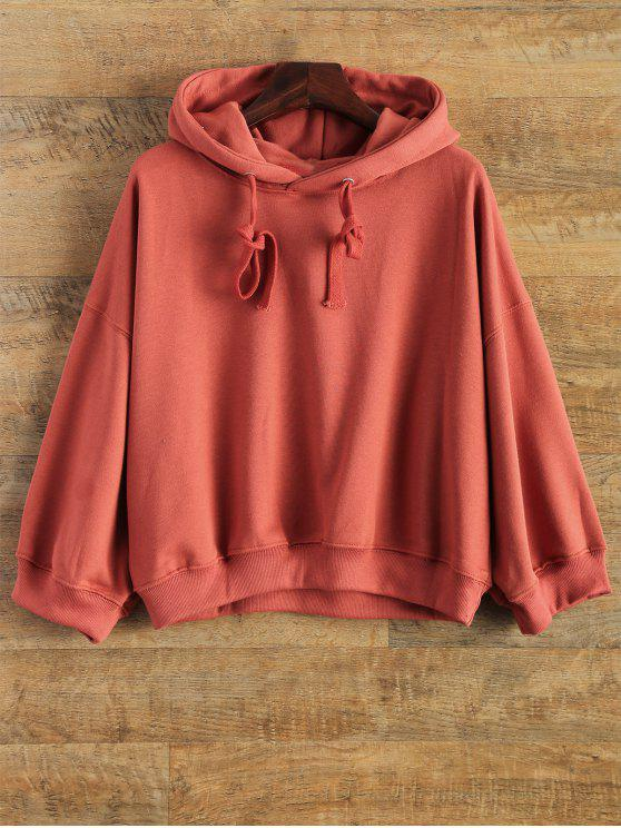 online Drop Shoulder Design Pullover Hoodie - RED ONE SIZE