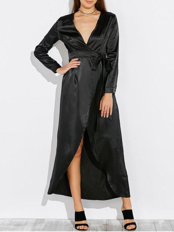 Maxi Robe drapée en satin à manches longues - Noir XL