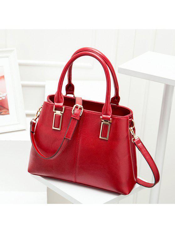 حقيبة توتس بجلد اصطناعي مطرز معدني - أحمر