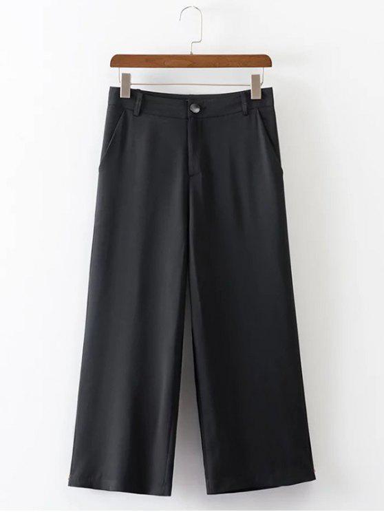 Calças Estampadas Cintura alta de pernas largas - Preto L