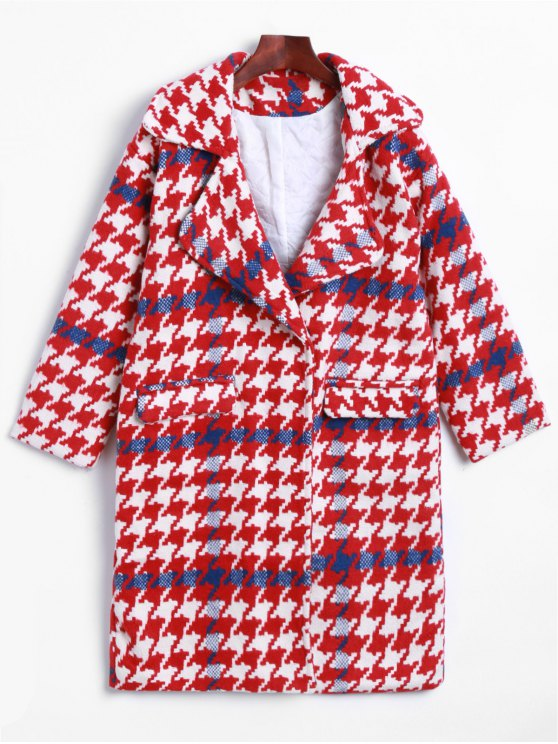 outfit Lapel Houndstooth Woolen Coat - RED S