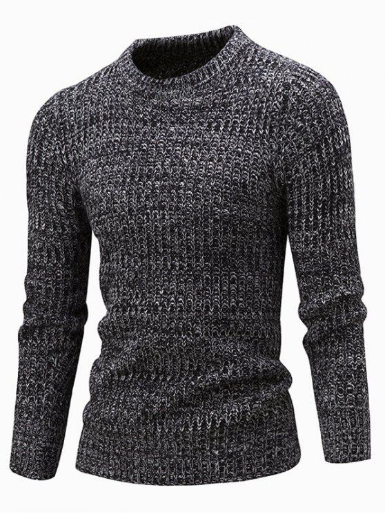 sale Slim Fit Crew Neck Ribbed Knitted Sweater - BLACK L