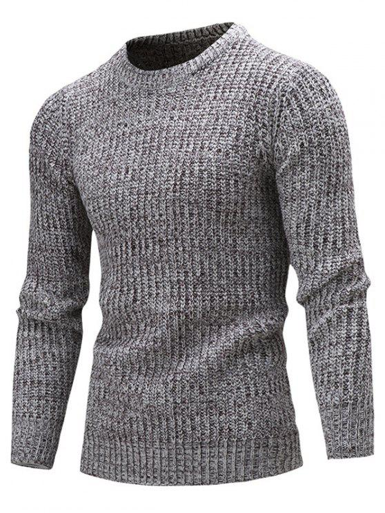 affordable Slim Fit Crew Neck Ribbed Knitted Sweater - DEEP GRAY M