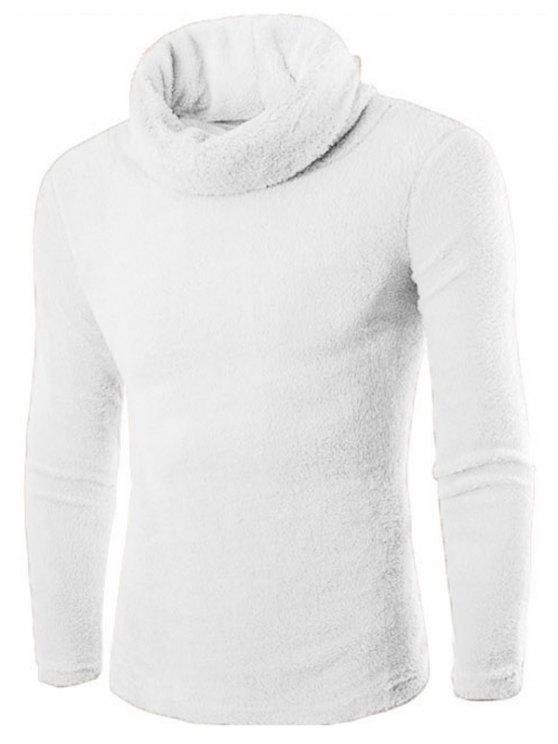 hot Fuzzy Turtleneck Fleece Sweater - WHITE L