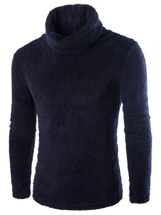 Rollkragen Langarm Fleece Pullover - Schwarz 2XL
