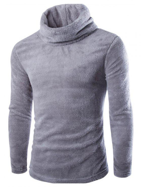 unique Fuzzy Turtleneck Fleece Sweater - LIGHT GRAY L