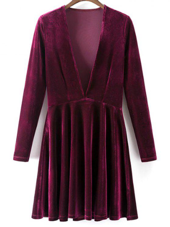 women's Velvet A-Line Dress - WINE RED S