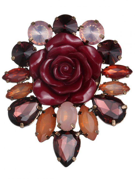 sale Enamel Faux Crystal Flower Brooch - TUTTI FRUTTI