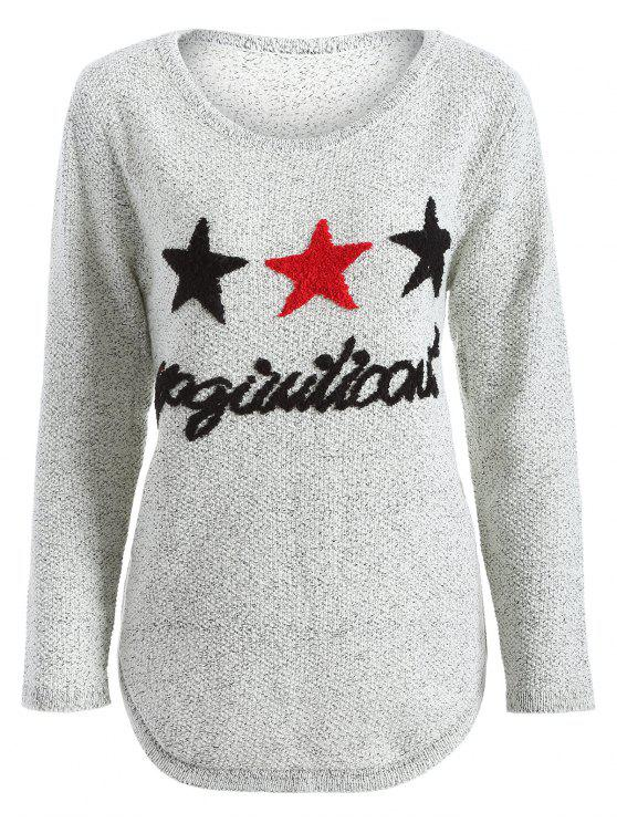 ladies Star Letter Pattern Sweater - GRAY ONE SIZE