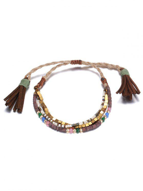 chic Beads Braid Layered Charm Bracelet - COFFEE